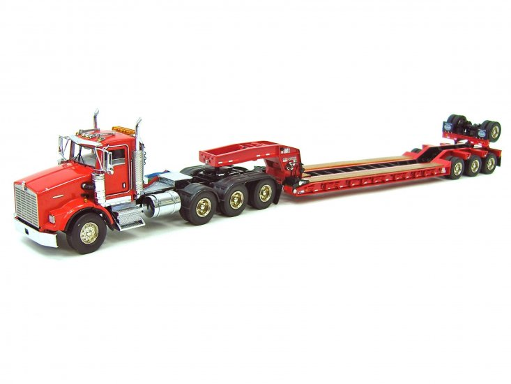 Kenworth T800W w/4-Axle Rogers Lowboy - Red - Click Image to Close