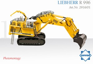 Conrad Liebherr R996 Backhoe - Yellow - Click Image to Close